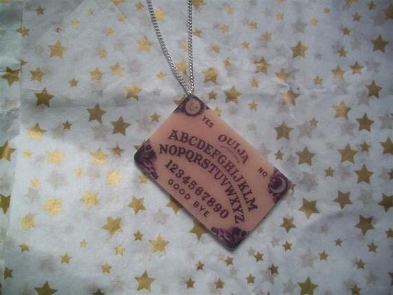 REDUCED Creepy Ouija Board Acrylic Necklace  Halloween Goth Ghost Spooky