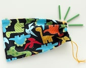 Dinosaur Party Favor Bags / Fabric Birthday Goody Bags / Treat Bags / Goodie Bags / Cloth Gift Bags / 6.25 x 9.5 inches / Set of 5