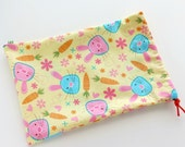 Bunny Gift Bag / Treat Bag / Fabric Goody Bag / Birthday Goodie Bag / 6.25 x 9.5 inches