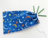 Moon Fabric Goody Bags / Baby Shower Favors / Moon & Stars / Birthday Party Favor Bags / Cloth Gift Bags / 6.25 x 9.5 inches / Set of 5