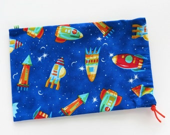 Space Rocket Goody Bags / Birthday Party Favors / Cloth Gift Bags / Fabric Goodie Bags / Treat Bags / 6.25 x 9.5 inches / Set of 5