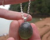 """Beautiful Olive Green Sea Glass Pendant with 18"""" Silver Plated Chain"""