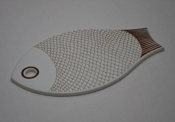 arabia fish ceramic cutting board platter by lostpropertyvintage,
