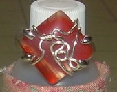 Earth tone RED STONE RING Wire Wrapped Silver tone Size 7 1/2