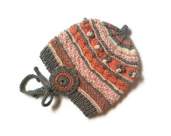 Waldorf Inspired Girl Hat, One Of A Kind, High Quality Natural Product, Size 5 Years, Material: 1/2 Silk & 1/2 Wool - Swiss Handmade
