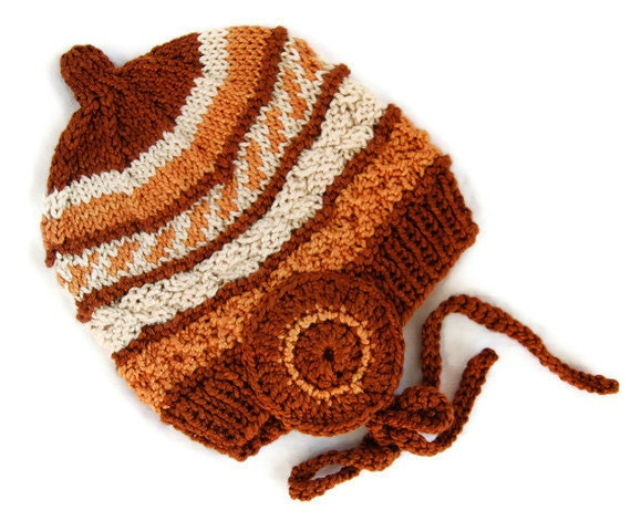 Summer-Autumn Earth Baby Hat - 100% Silk Plant Colour Dyed - High Quality Natural Product - Swiss Handmade