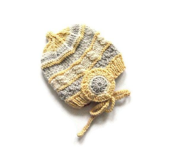 Eco Friendly Newborn Preemie Hat, 100% Eco Silk and Wool, Natural Hat, OOAK Hat