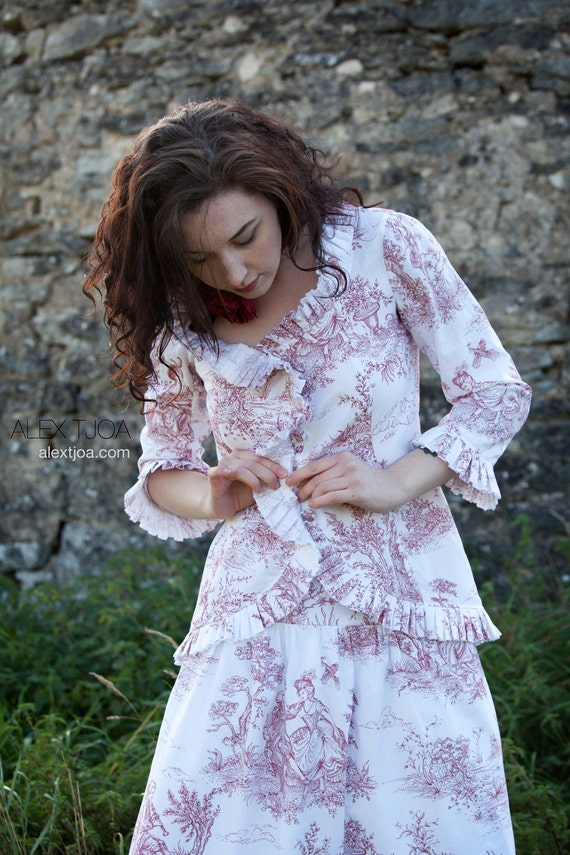 Jacket Trianon from French Toile de Jouy with Ruffles closes with buttons covered with Toile de Jouy.