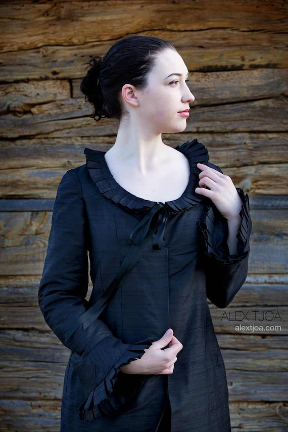 Jacket Nocturne with Ruffles from black Silk. Stylish High Class Wedding Costume or Everday use.