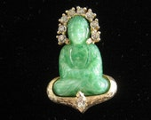 SALE Vintage BUDDHA Brooch JOMAZ signed with Faux Jade and Rhinestones