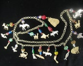 Vintage Animal Charm Necklace with Glass Beads from India