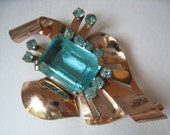 SALE Large 1940s RETRO Brooch has Aqua Rhinestones & Rose Gold Vermeil over Sterling and is Signed GLAMOUR