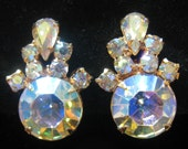 CLEARANCE Vintage AB Rhinestone Earrings with Stones that truly DAZZLE