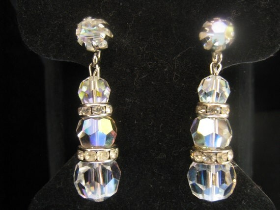 CLEARANCE Vintage Crystal AB Drop Earrings with Rhinestone Rondelles