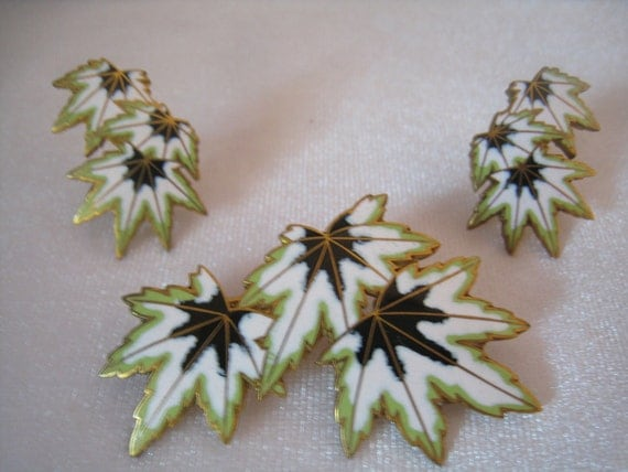 CLEARANCE Vintage Enamel Pin & Earrings Leaf Design Demi Parure in White, 2 Greens, and Gold