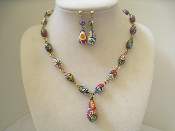 RESERVED Vintage Murano Millefiore Art Glass Bead Necklace & Earrings Demi Parure