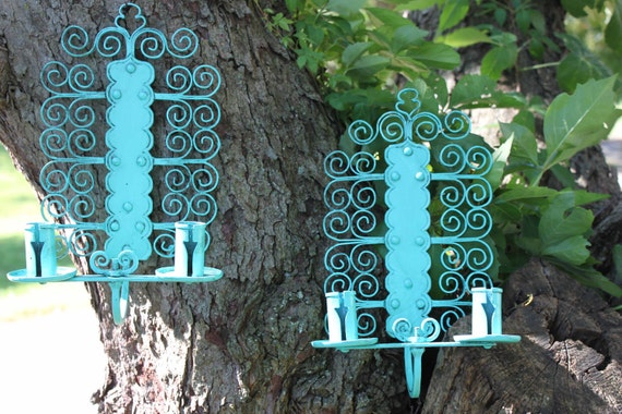 Metal Turquoise Candle Sconces from Norway // Whimsical Swirls // Boho Chic // Beach
