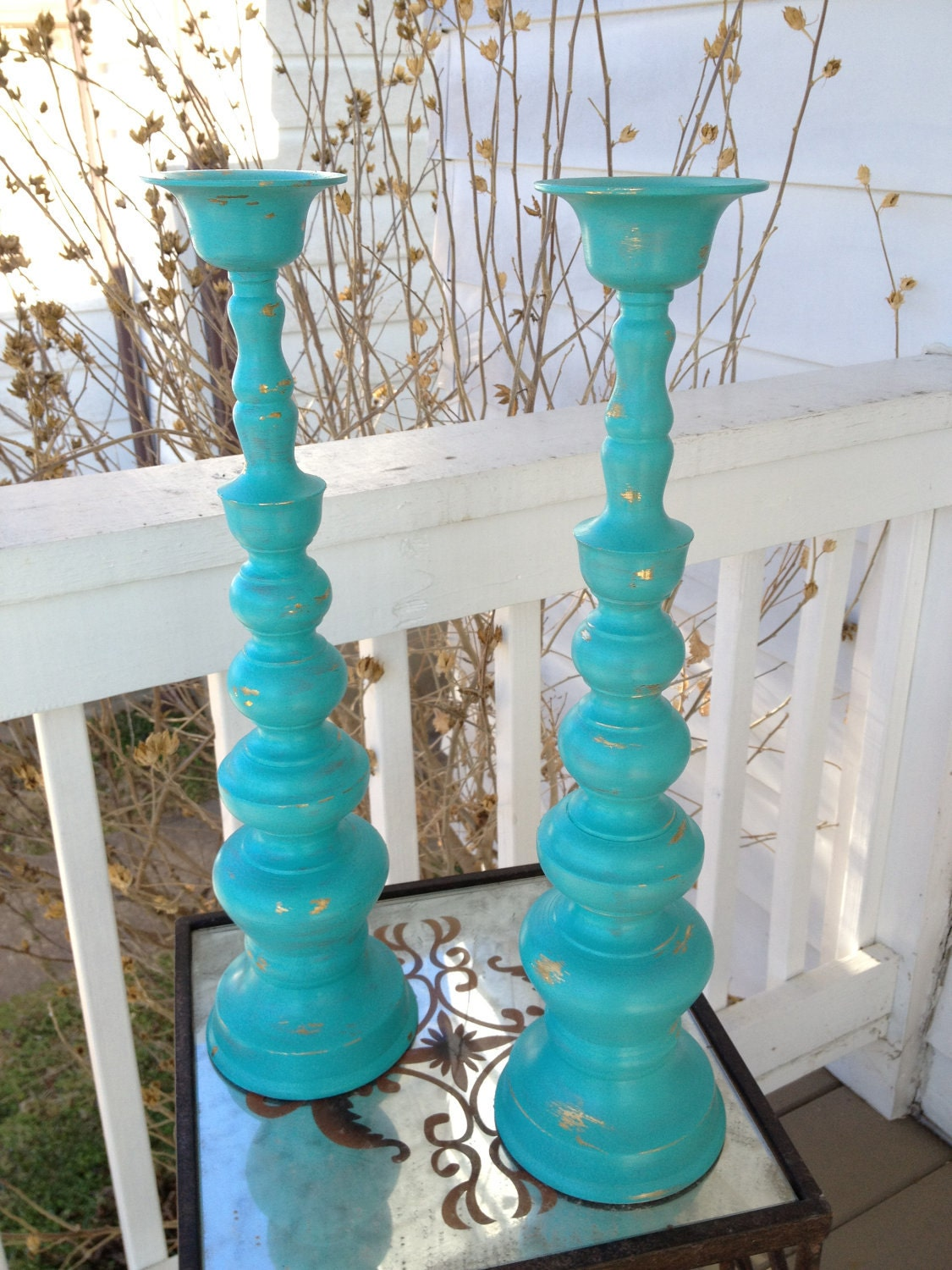 Easter sale vintage brass turquoise tall candle for Cheap tall candlestick holders