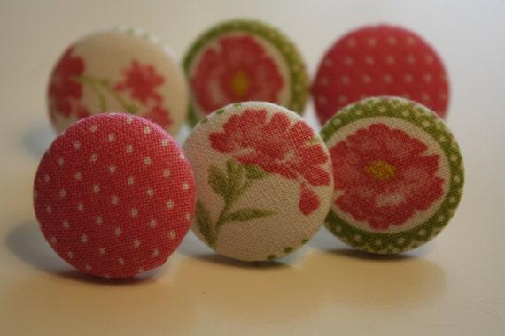 SALE SALE SALE Fabric Covered Button Thumbtacks/ Pushpins - Set of 6