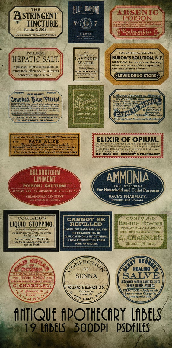 Dynamic image in free printable vintage apothecary labels
