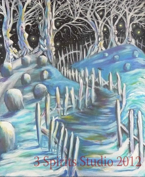 "RESERVED 4 SB Original Acrylic Painting - ""Winter Path"""
