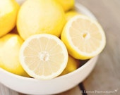 Food Photography - Kitchen Art - Lemons Photograph - 8x10 Fine Art Photography Print - Yellow White Home Decor