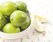 Food Photography - Kitchen Art - Lime Photography - Fruit - Foodie Gift - Fine Art Photography Print - Lime Green Orange White Home Decor