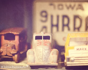 Nursery Art Photography - Antique Toy Car Photograph - Boy's Room Photograph - Fine Art Photography Print - Red White Yellow Home Decor