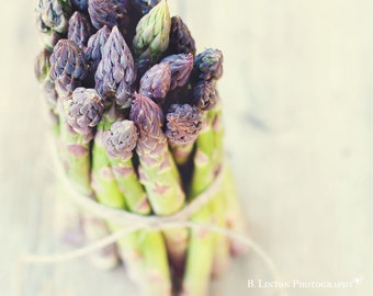 Food Photography - Kitchen Art - Spring Asparagus Photograph - Dining Room Decor - Fine Art Photography Print - Green Gray Home Decor