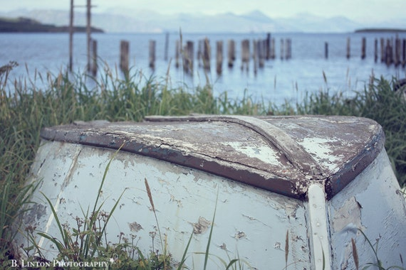 Alaska Landscape Photography -  Rustic Fishing Skiff Photograph - Beach Photography - 8x12 Fine Art Photography Print - Blue Home Decor