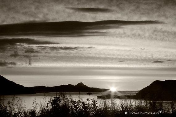Alaska Landscape Photography - Ocean Photograph - Alaska - Sunrise - Aleutian Islands - Fine Art Photography Print - Black White Home Decor