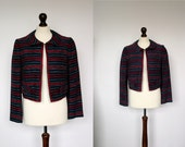 RESERVED FOR RUTH - Vintage Pink and Navy Cropped Jacket