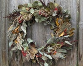 Natural Dried Wreath - Autumn Lily - Eucalyptus, Laurel,  Oriental Poppy, Nipplewort, Ironwood, Dock & ornamental grasses