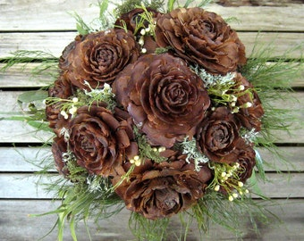 Woodland Wedding Bouquet  - Natural Dried Flower Bouquet - Cedar Rose & Lichen - Bridal Bouquet