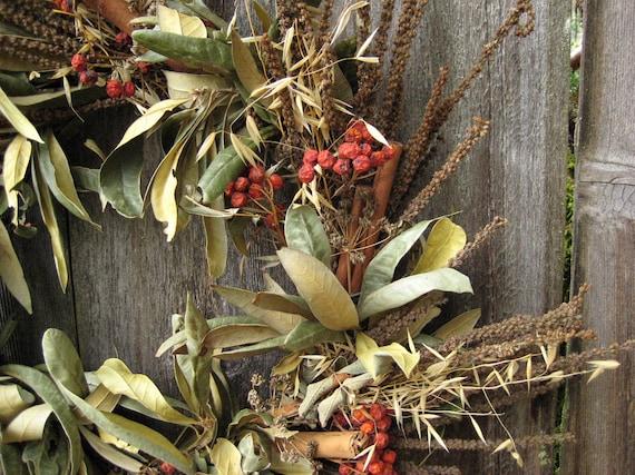 Natural Autumn Wreath - Thankful Fall Harvest - Anise Hyssop, European Ash, Chinquapin, Cinnamon, Parsley & Wild Oats