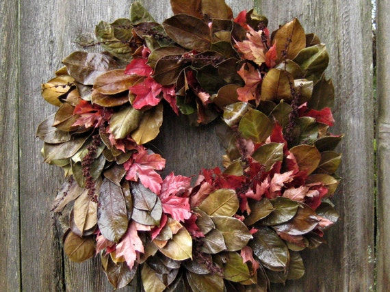 Natural Autumn Wreath - Deep Coffee - with Red Maple, Laurel, and Curly Dock