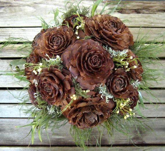 Woodland Wedding Bouquet  - Natural Dried Flower Bouquet - Cedar Rose & Lichen - Bridal Bouquet