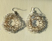 "Crocheted Brass Wire ""Wheel"" Earrings"