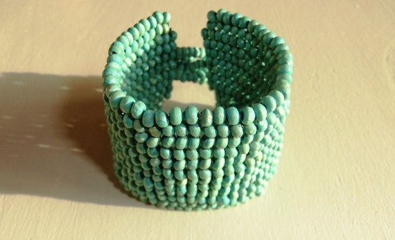 Turquoise Peyote Beaded Bracelet