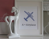 Children's Art Print - A is for Airplane