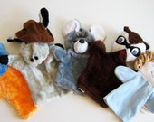 Vintage Hand Puppets SET including Mouse, Donkey, Raccoon, Alien, Homer Vintage Puppet Show