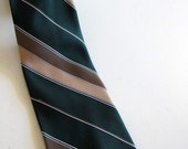 Mens Necktie Vintage Tie Blue with Brown and Light Brown Stripes G Rimoldi Tie Polyester Gifts for Him Fathers Day