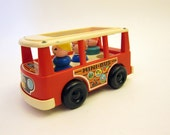 Fisher Price Mini Van with little people toy vintage  Mini Bus 1970 toy