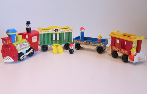 fisher price circus train with little people toy vintage 1970 toy