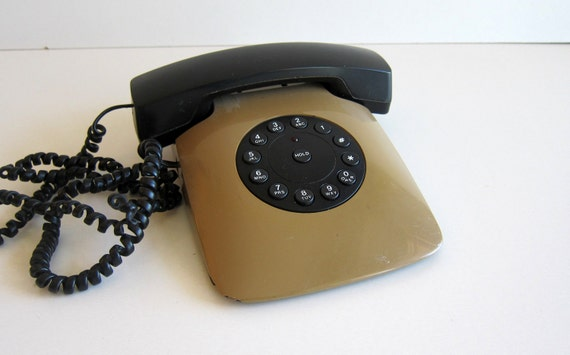 Vintage Phone 80s Grand Prix Tan olive Brown telephone Photo Prop Fathers Day Gift