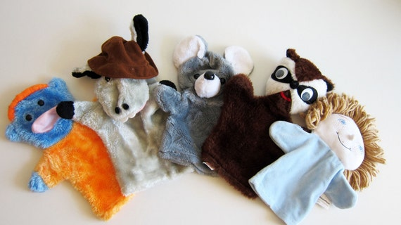 Vintage Hand Puppets SET including Mouse, Donkey, Raccoon, Alien, Homer Vintage Puppet Show