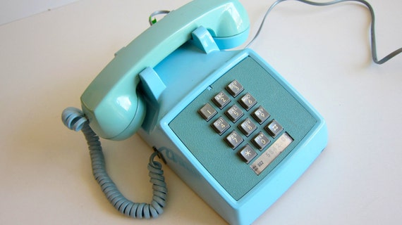 ON SALE Vintage Push Button Telephone Baby Blue Phone Western Electric Photo Prop