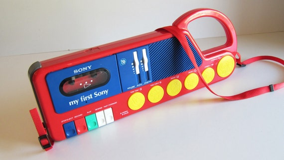 Kids Radio  My First Sony Cassette Corder WORKS 1980's Electronics 80's toys red yellow