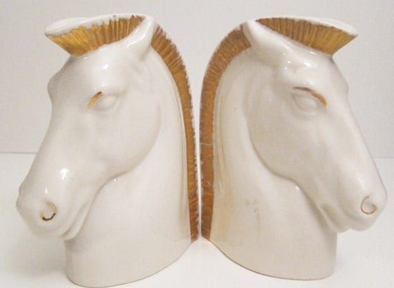 Porcelain Horse Head Book Ends Candle Stick Holders White and Gold Dockrell INc. Caldwell