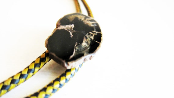 Bolo Ties Petrified Wood Polished Rock Bolo Necklace Hipster Accessory High Fasion Unisex Men Women Fathers Day Gift